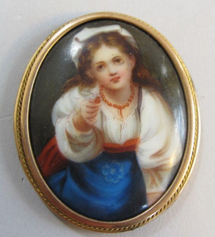 """Fine Antique 1.75"""" German Hand-Painted Porcelain Plaque c. 1880 antique painting"""