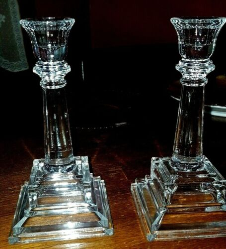 pair of antique glass candle sticks