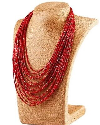 Beads, Red Multilayer Seed Bead Necklace  20 Layer Necklace Bohemian Style