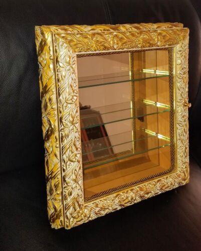 Italian Gold Gilt Rectangular Vitrine Wall Display Curio Cabinet Glass Shelves