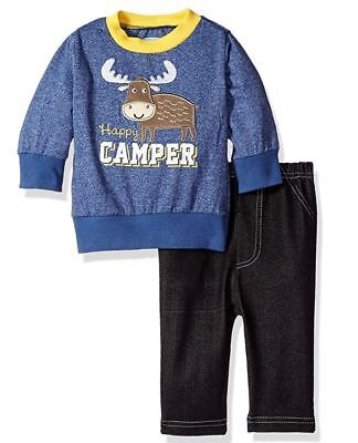 Bon Bebe Boys 2-Piece L/S Top w/ Knit Denim Pants Happy Camper Blue 12 Months