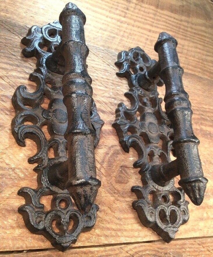 2 Door Barn Cast Iron Gate Pull Shed Handle Rustic Antique Style Handles 7""