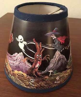 Vintage Halloween-Witch~Pumpkin~Spooky Clip-On Lamp Shade-Light