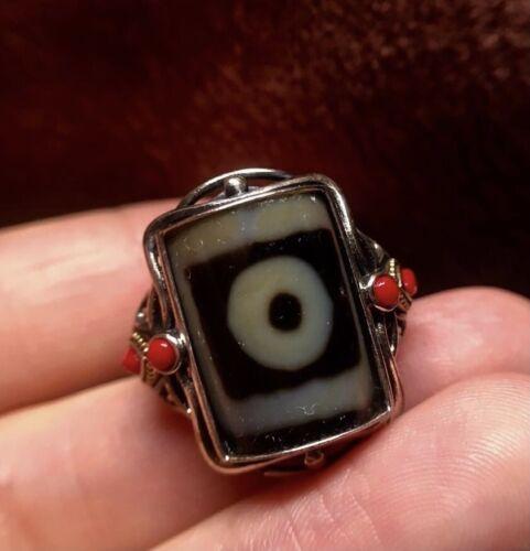 """Antique VINTAGE Agate Tibetan Dzi """" 1 Eye """" Amulet Adjustable Silver Ring"""