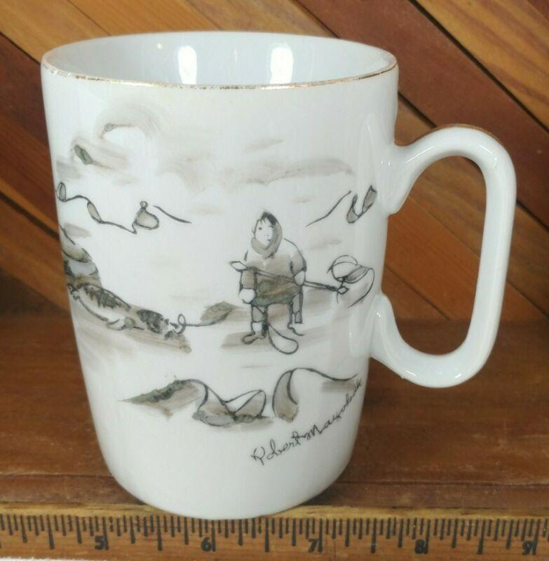 Robert Mayokok Inuit Eskimo Scene Alaska Art on Porcelain Coffee Mug Cup