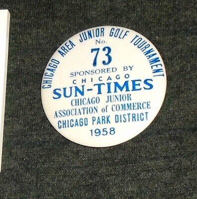 Rare Chicago Sun Times Newspaper 1958 Golf Tournament Vintage Pinback Button