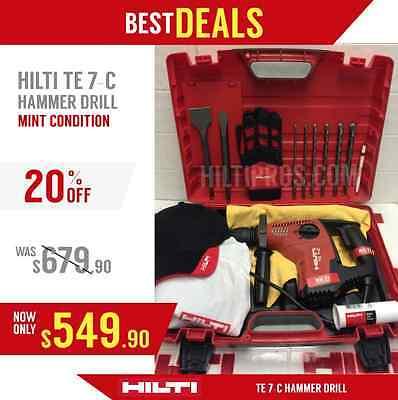 Hilti Te 7-c Hammer Drill Preowned Free Bits Hilti Hat Fast Ship