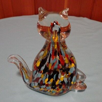 VINTAGE MURANO GLASS CAT PAPERWEIGHT- FIGURINE  BEAUTIFUL PIECE