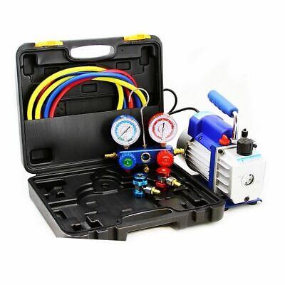 Combo 4CFM 1/3HP Air Vacuum Pump HVAC Refrigeration AC Manifold Gauge R134 Alum