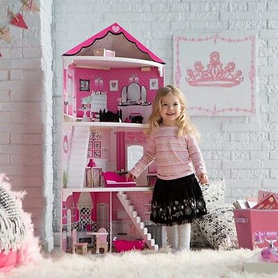 1Barbie Size Dollhouse Furniture Girls Playhouse Wooden Dream Play Doll House