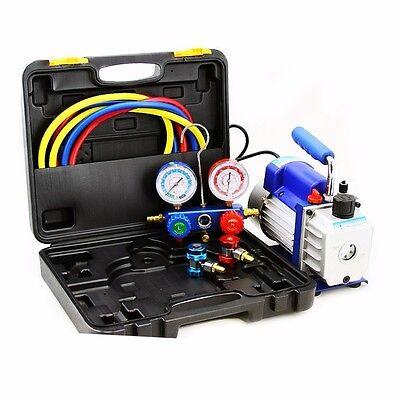 Combo 4cfm 13hp Air Vacuum Pump Hvac Refrigeration Ac Manifold Gauge R134 Alum