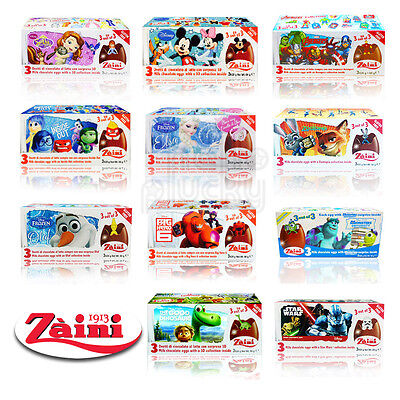 [ZAINI DISNEY] Milk Chocolate Eggs Collectible Toys Inside 3 Eggs Made in Italy (Toys In Eggs)