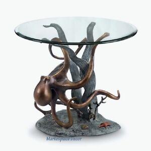 Octopus Seagrass End Accent Table Metal Coastal Nautical Sea Life Sculpture