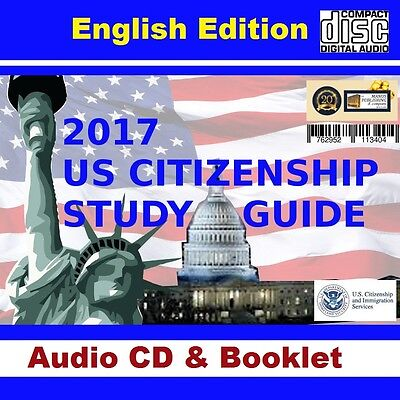 2017 US CITIZENSHIP STUDY AUDIO CD, PRINTED STUDY BOOKLET, BRAND NEW,  ENGLISH