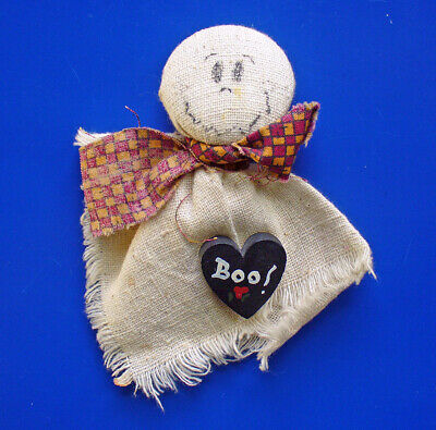 PIN Halloween Vintage GHOST w BOO Heart Fabric Wood Handcrafted Holiday Brooch