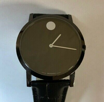MOVADO Museum Black Dial Leather Band Quartz 40mm Watch 84.G1.1855A