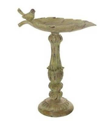 Bird Bath Birdfeeder Rustic 21 inch Leaf and Bird Design Verde Finish (Off White