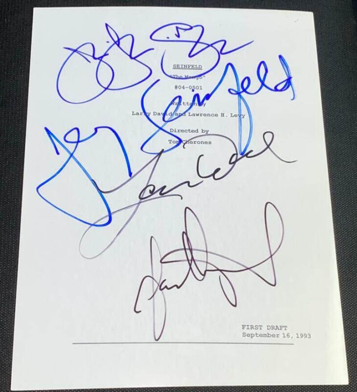 "JERRY SEINFELD LARRY DAVID & CAST SIGNED AUTOGRAPH ""THE MANGO"" SHOW SCRIPT COA"