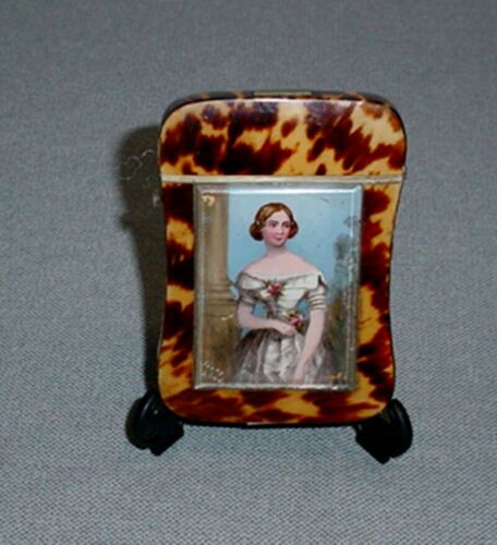 Victorian Celluloid Faux Tortoise Shell Calling Card Holder Jenny Lind Portrait