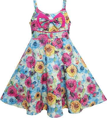US STOCK Girls Dress Sling Bow Tie Flower Princess Cotton Pink Size 3-10](Girls Party Dress Size 10)