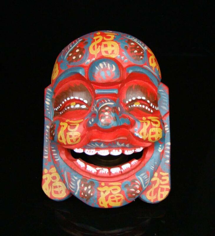 200mm Handmade Carved  Statue colored drawing wood Mask Smiling Face Buddha Deco
