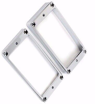 Metal Humbucking Ring Set Chrome flat bottom fits Jackson and Gibson SG (Jackson Metal Bed)