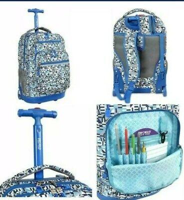 "J WORLD NEW YORK Sunrise Rolling Backpack 18"" PURPLE/ BLUE GEOMETRIC NEW"