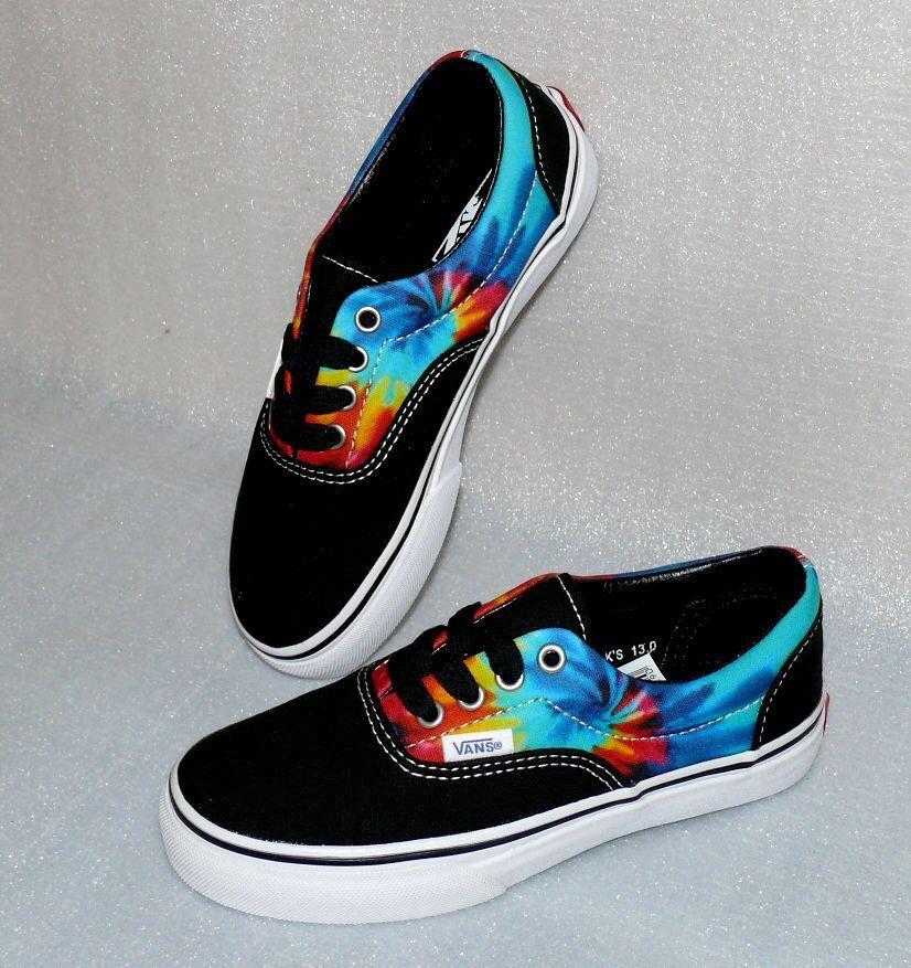 Vans ERA K'S Canvas Kinder Schuhe Freizeit Sneaker 31 UK13 Tie Dye Schwarz Weiß