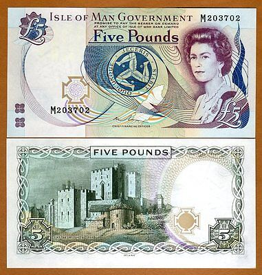 Isle of Man, 5 pounds, ND (1983 issue), 2015 sig. Pick 41 (41c),  QEII, UNC