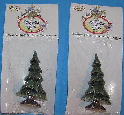 2 Blue Sky Presents Make-It-Mine Evergreen Tree Ceramic Heather Goldminc Xmas