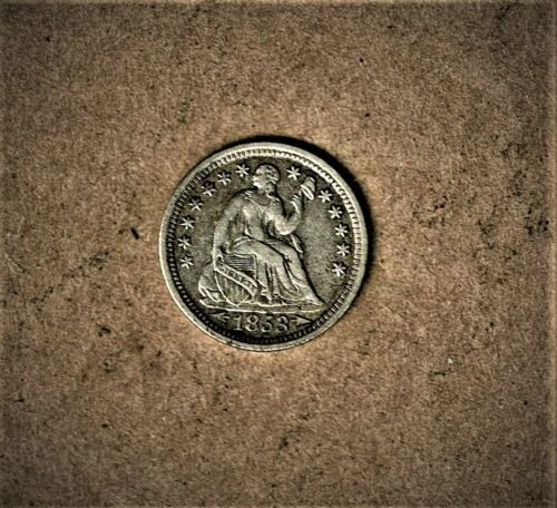 1853 Seated Liberty, Half-dime with arrows in .900 silver composition at E.F. +