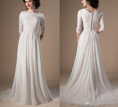Modest Wedding Dresses Half Sleeve Lace Applique A-line Chiffon Boho Bridal Gown Modest Bridal Dresses