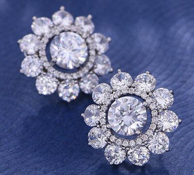 Clear Crystal Pierced Earrings - Flower Round Clear CZ Halo Crystal Earrings Studs Rhodium Plated Pierced W282