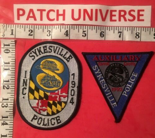LOT OF 2 DIFFERENT SYKESVILLE MD  POLICE SHOULDER PATCHES   O126
