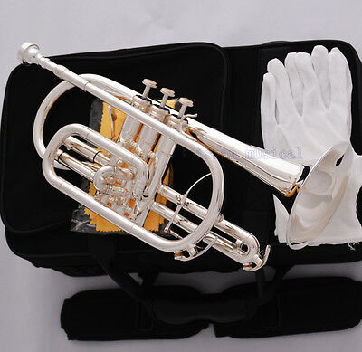 Professional Silver Plated Double Trigger Cornet Horn B-Flat Monel Valve W/Case for sale  Shipping to Canada
