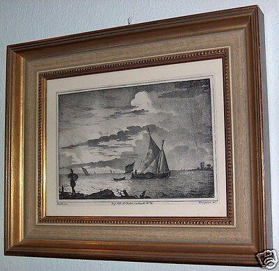 Lithografie ca. 1850 Ludolf  Bakhuizen  Backhuysen  Segelschiffe   Emden