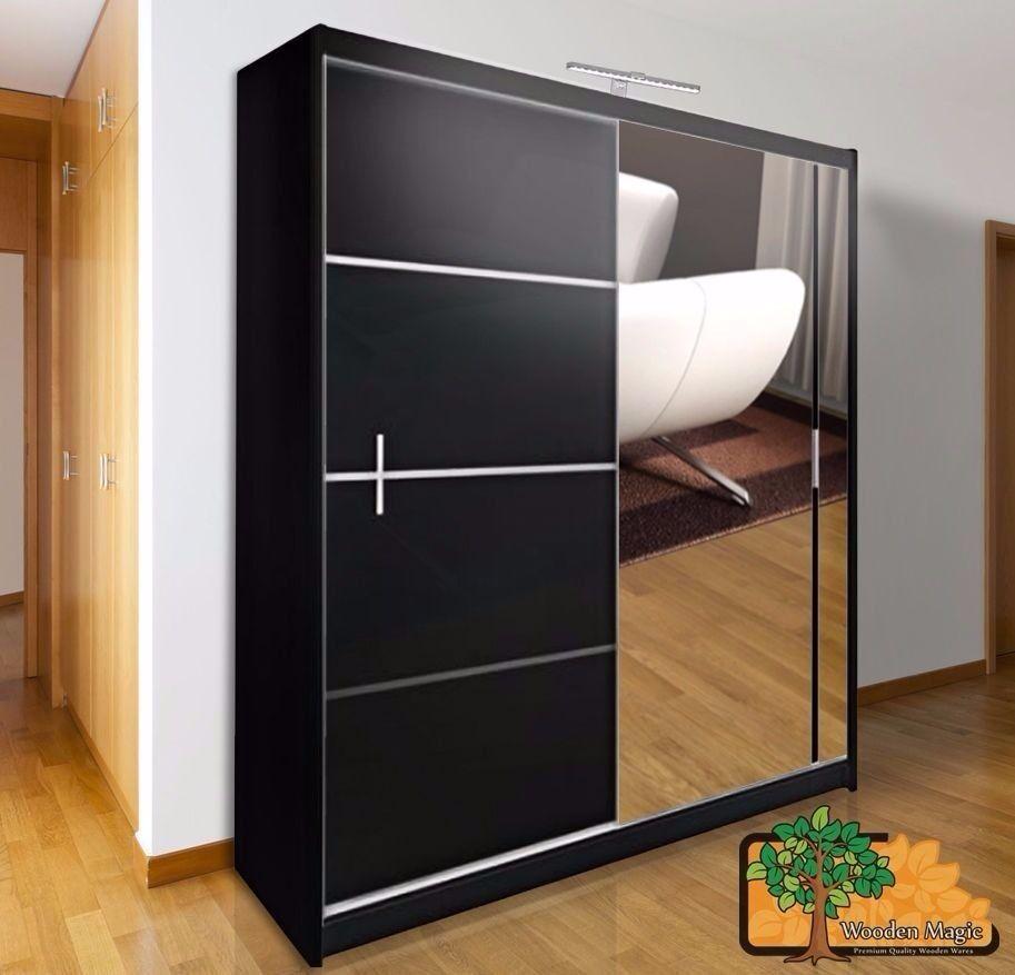 Vista Black 180 Sturdy Free Standing Wooden Sliding Door Wardrobe