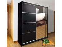 VISTA BLACK 180 Sturdy Free Standing Wooden Sliding Door Wardrobe SLIDER