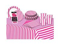 new Decorative Stripes complete party tableware kit table set Hot Pink Kit