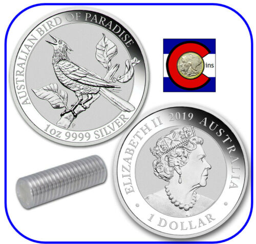 2019 Bird of Paradise Manucodia 1 oz Silver Coin - Mint Roll of 20 Coins