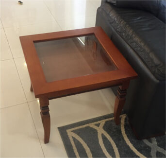 Glass top side lamp table