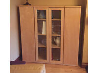 IKEA Beech Display Cabinet with freestanding cupboards