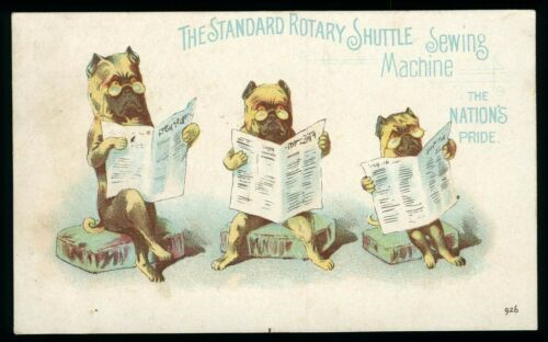 Anthropomorphic Dogs Reading Newspaper Standard Rotary Sewing Machine Trade Card