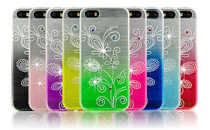 Bling-Diamond-Fitted-Soft-Back-Gel-Case-Floral-Silicone-Cover-For-Apple-Phones