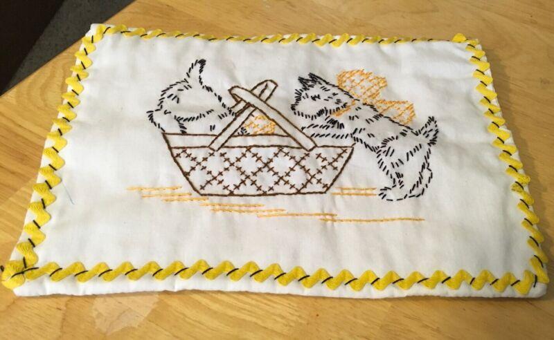Vtg Embroidered Terrier Dog Hot Pad