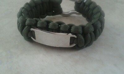 FREE ENGRAVING (PERSONALIZED) Paracord Stainless Steel with Shackle