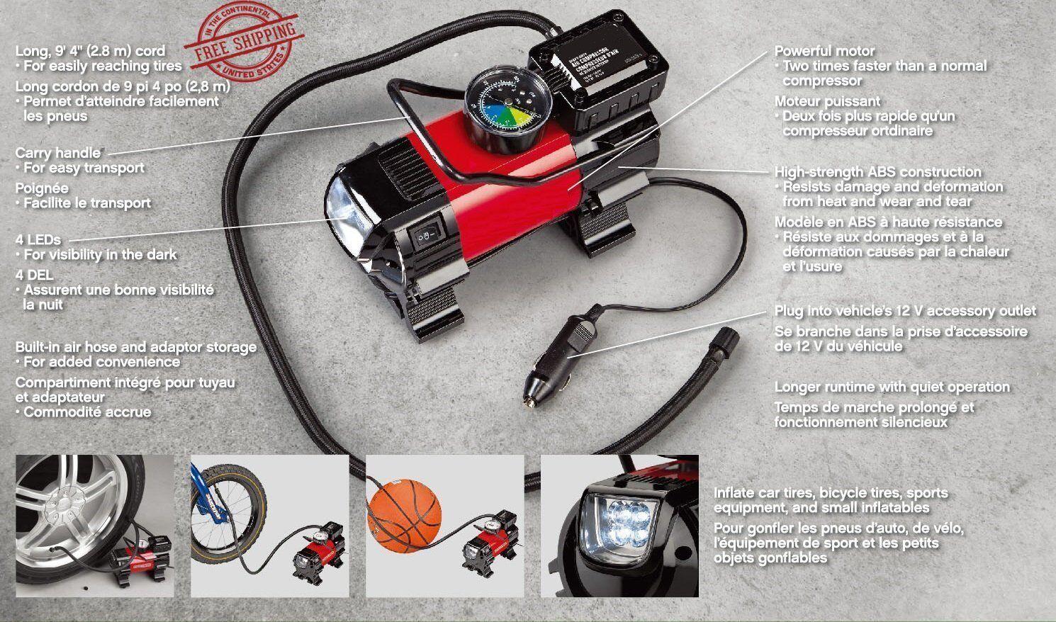 Air Compressor LED Car 12V Portable Pump Auto Tire Inflator