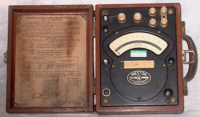 Vintage 1947 Weston Ac Dc 50 Watt Meter Model 310 In Wooden Case