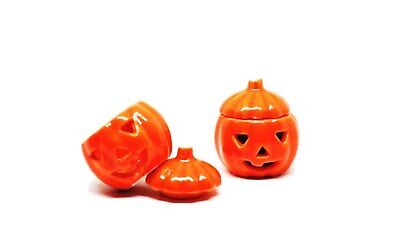 2 Pcs Dollhouse Miniatures Ceramic Halloween Pumpkin Carved Jack-O-Lantern