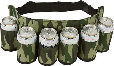 Redneck SIX Pack Beer Holster Camouflage Holds Nylon Belt Soda Camo 6 Pop Can